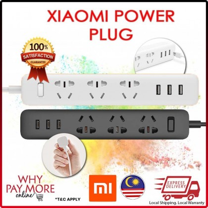 Original Xiaomi Smart Power Extension Plug Adapter Universal USB Charger 3 2A Port Quality Xiao Mi